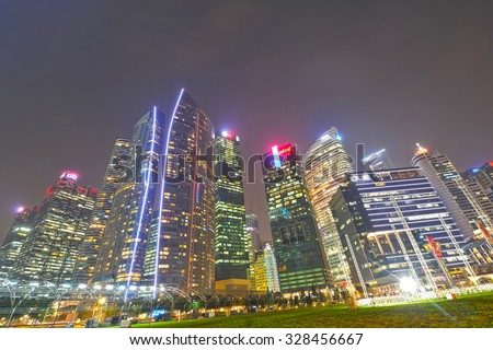 DOWNTOWN, SINGAPORE - AUGUST 23: Singapore Skyline And Modern Skyscrapers Of Business District Marina Bay Sands On August 23, 2015 In Downtown, Singapore