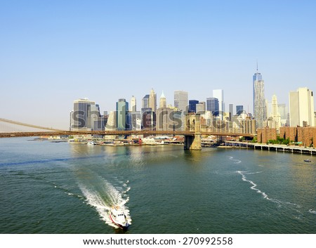 Downtown skyline and Freedom Tower, New York City - stock photo