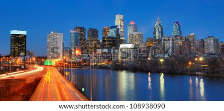 Downtown Skyline of Philadelphia, Pennsylvania. - stock photo