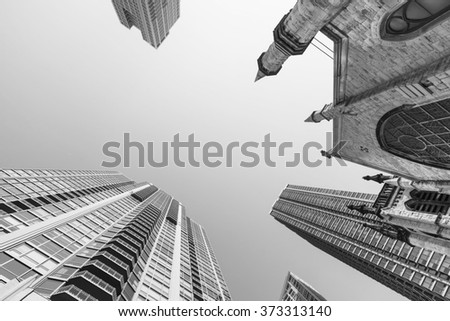 Downtown skyscrapers and urban view in black and white. - stock photo