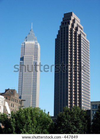 Downtown skyscrapers in Cleveland, OH - stock photo