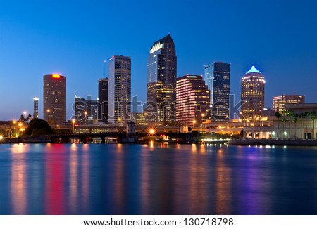 Downtown Tampa Florida Skyline at Night - stock photo