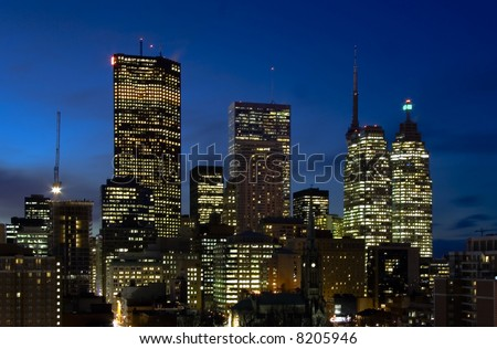 Downtown Toronto at night - stock photo