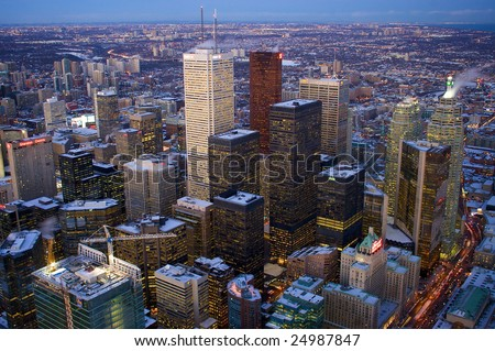 Downtown Toronto from CN tower, Canada - stock photo