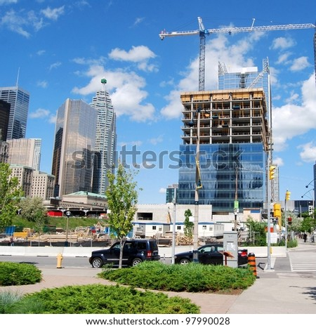 Downtown Toronto High Rise Buildings Construction Site, Canada - stock photo