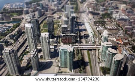 downtown Toronto tilt-shift - stock photo
