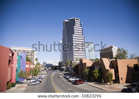 Downtown Tucson Arizona, a mix of old and new architectural styles - stock photo