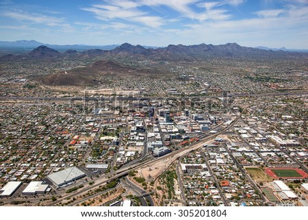Downtown Tucson, Arizona from above looking to the West including Interstate 10 and A Mountain - stock photo