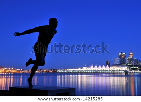 Downtown Vancouver at night - stock photo