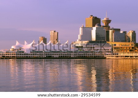 Downtown Vancouver at Sunrise - stock photo