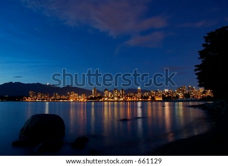 Downtown Vancouver night scene, Vancouver, British Columbia, Canada - stock photo