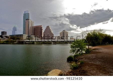 Downtown view from Zilker Park - stock photo
