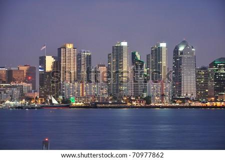 Downtown waterfront of San Diego, California. - stock photo