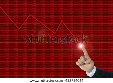 Downtrend financial chart, stop loss concept - stock photo