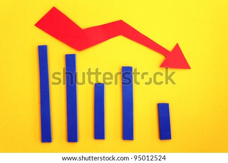 Downward graph trend depicting economy recession/falling profit - stock photo