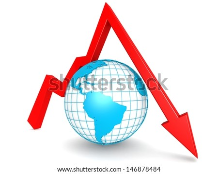 Downward graph with globe - stock photo