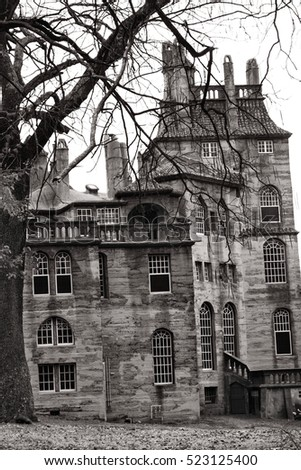 Doylestown, Pa, USA, Nov. 25, 2016: Fonthill castle close up in black and white. Nov. 25, 2106 in Doylestown, Pa. USA