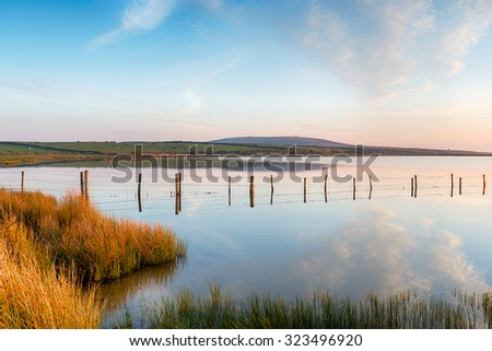 Dozemary Pool a small lake high up on Bodmin Moor in Cornwall - stock photo