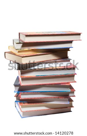 dozen different books, stacked on a white background - stock photo