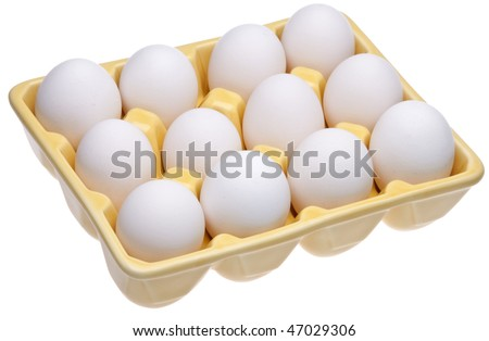 Dozen eggs in a fun open yellow cartion.  Great food, spring or Easter image.  Isolated on white with a clipping path.