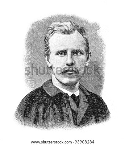"Dr. Nansen, the polar expedition organizer. Engraving by Schyubler. Published in magazine ""Niva"", publishing house A.F. Marx, St. Petersburg, Russia, 1893"