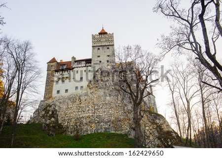 Dracula Castle in Bran, Romania. It is marketed as the home of the Vampire Dracula, the Bram Stoker's novel character. - stock photo