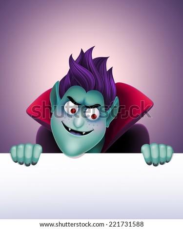 Dracula holding blank banner, frown vampire illustration, Halloween background - stock photo
