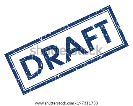 Draft blue square grungy stamp isolated on white background - stock photo