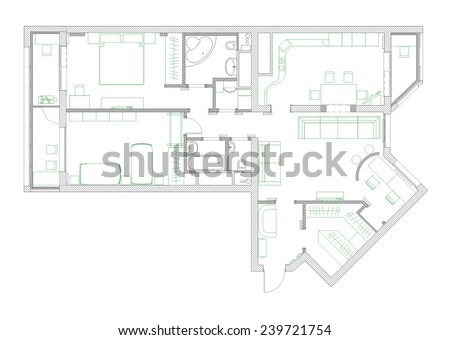 draft plan of arrangement of all furniture - stock photo