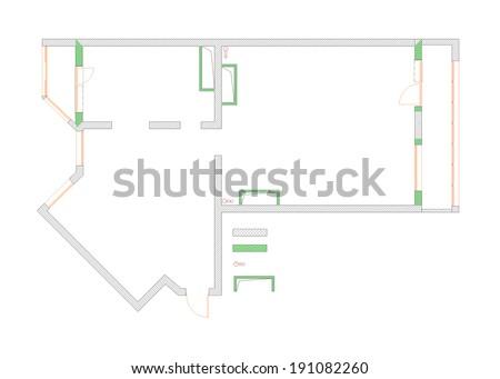 draft plan of the apartment  - stock photo