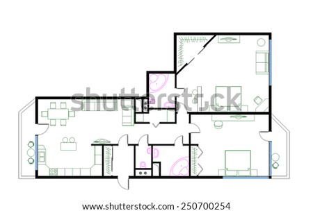 Three Room Apartment draft plan threeroom apartment 120m furniture stock illustration