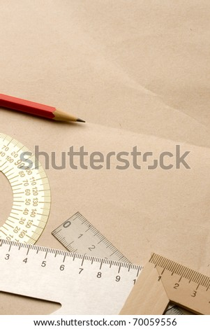 Drafting tools isolated - stock photo