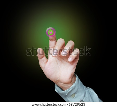 dragging an icon on a touch screen monitor - stock photo