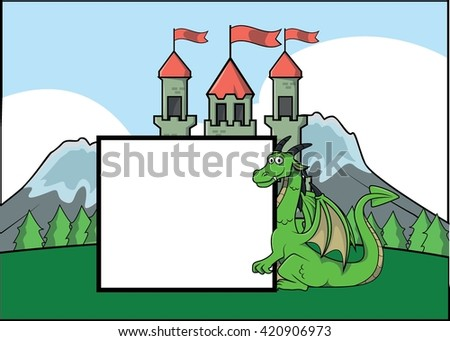 Dragon and castle illustration