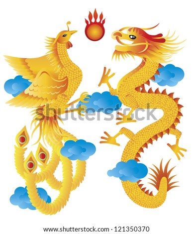 Dragon and Phoenix Symbols for Chinese Wedding with Flaming Ball Blue Clouds Illustration Isolated on White Background Raster - stock photo