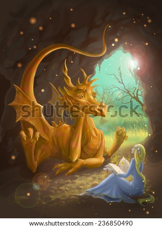 Dragon and Princess sitting in a cave. she reads him stories - stock photo