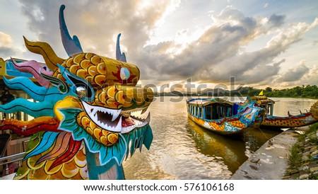 Dragon boat in Hue, Vietnam
