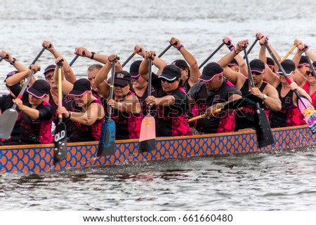 DRAGON BOAT RACING, SURFERS PARADISE, AUSTRALIA-31ST JAN 2016:-Dragon boat racing on Emerald lakes, a pastime for all ages and fitness levels.