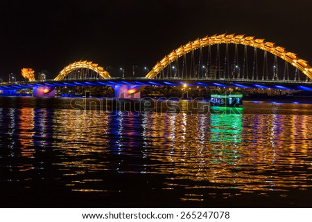 Dragon bridge crossing the river in Da Nang city, Vietnam