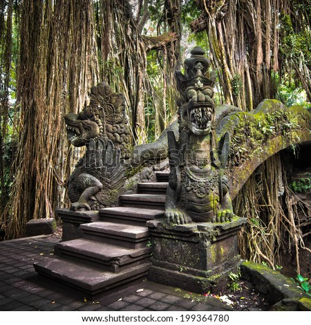 Dragon bridge in Monkey Forest Sanctuary in Ubud, Bali, Indonesia.  - stock photo