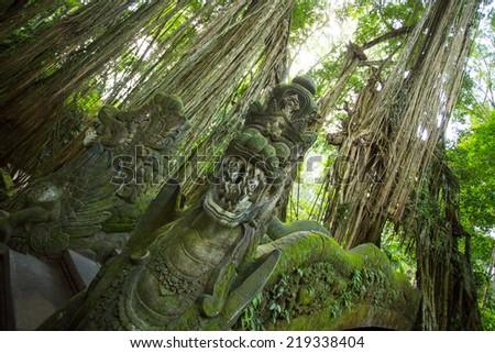 Dragon Bridge in Monkey Forest Sanctuary in Ubud, Bali,Indonesia - stock photo