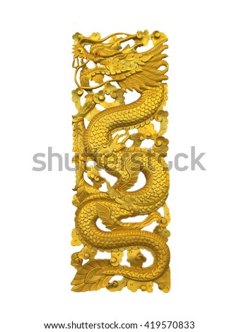 Dragon carved from teak wooden on isolated background