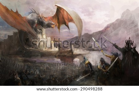 Dragon castle and army attacking  - stock photo