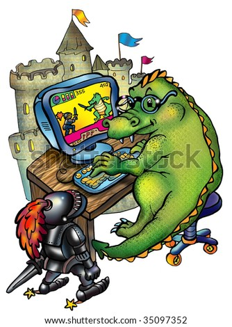 Dragon, computer, and knight