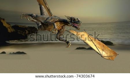 dragon fly over the sea beach - stock photo