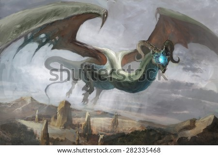 Dragon flying over the mountains - stock photo