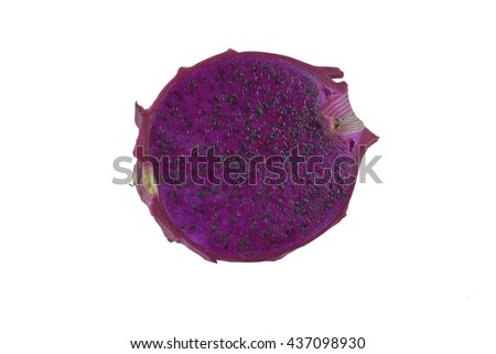 Dragon fruit cut in half and White background