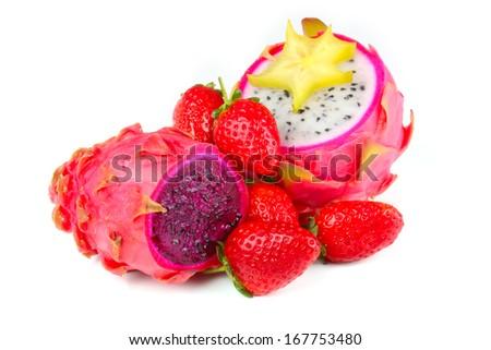 Dragon Fruit with pitahaya and strawberries - stock photo