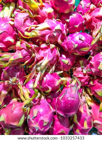 Dragon fruits in supermarket, Pitaya fruit