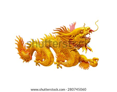 Dragon gold statue on white back ground.